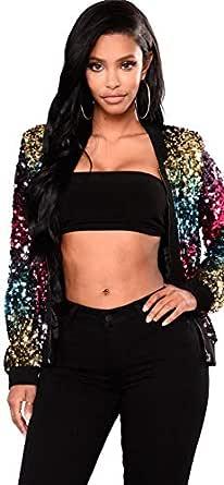 Janisramone Womens Ladies New Multicolor Sequin Glitter Club Party Wear Bomber Jacket Festival Biker Coat Top