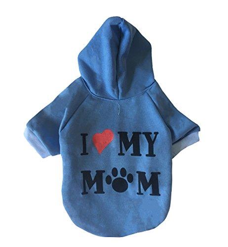 Easy Tauriel Costume (I Love My Mom Dog Hoodies,Rdc Pet Appare Winter Sweatshirt Warm Sweater, Cotton Jacket Coat for Samll Dog & Medium Dog & Cat (S, Blue))