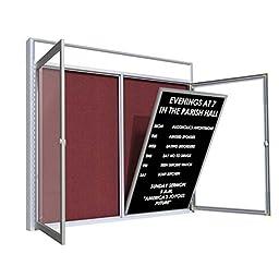 Satin Aluminum Frame Flannel Enclosed Letter Board Surface Color: Black, Size: 38\