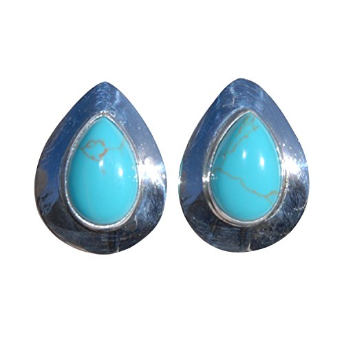 Tear Drop Sterling Silver Navajo Turquoise Stone Stud Earrings Handcrafted Indian Jewelry New Mexico
