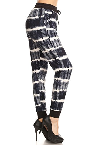 Jogger Track (Leggings Depot Women's Printed and 3-Stripes Activewear Jogger Track Cuff Sweatpants Inner Pockets DS (Medium, Triple Shades Of Gray))