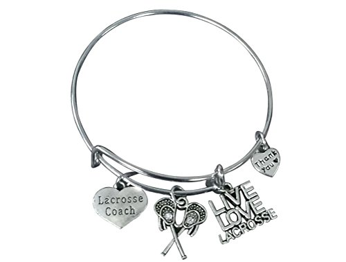 Lacrosse Coach Bracelet - Lacrosse Jewelry for Coaches - Lacrosse Charm Bangle- Lacrosse Coach Gift by Infinity Collection