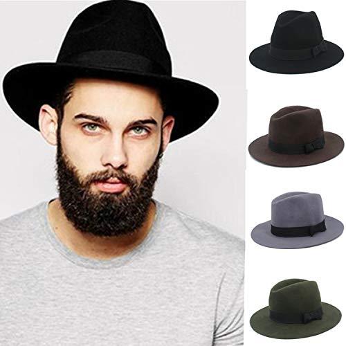 - Floppy Felt Trilby Felt Fedora Hat for Gentleman Top Cloche Panama Hat with Wide Brim Dad Hat 100% Australia Wool Men Green