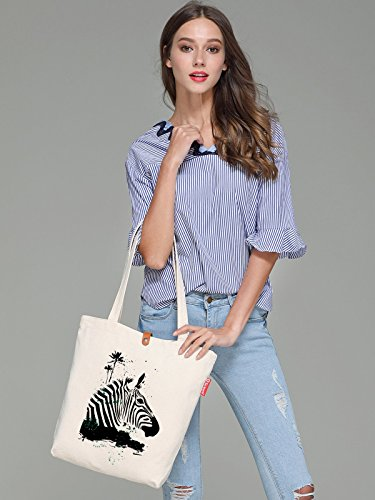 So'each Women's Animal Zebra Coconut Tree Top Handle Canvas Tote Shopping Bag