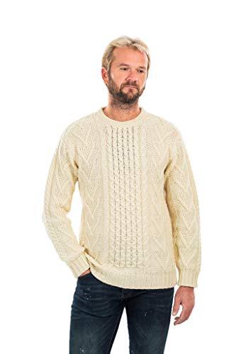 SAOL Mens Merino Aran Sweater (Natural, XLarge) ()