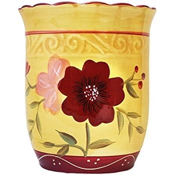 Amazon Com Kitchen Utensil Holder Tuscany Garden Flower