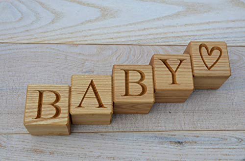 Personalized Wood Blocks - Personalized Baby Letter Blocks - Wood Letter Blocks - Custom Wood Blocks - Nursery Decor - Name Blocks ()