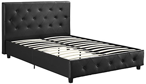 DHP Dakota Upholstered Faux Leather Platform Bed with Wooden Slat Support and Tufted Headboard and Footboard Queen Size   Black