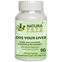 Natura Petz Love Your Liver, Liver Detox and Support, Gall Bladder, Digestive and Irritable Bowel Syndrome Support for Adult Pets, 90 Capsules, 250mg Per Capsule