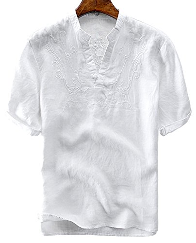 Short Shorts Linen Sleeve (utcoco Men's Retro Frog Button V-Neck Embroidery Linen Henley Shirts Short Sleeve (XX-Large, White))