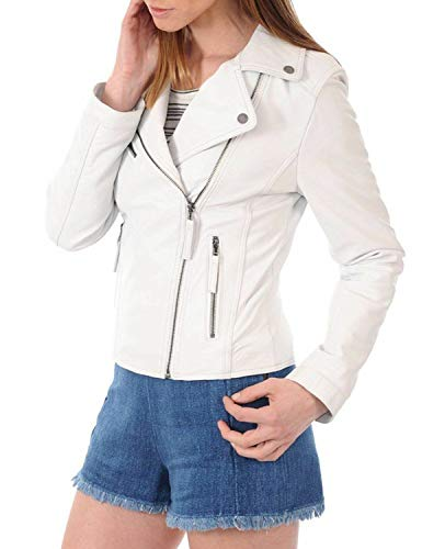 (Women's Leather Jacket Bomber Biker Motorcycle Real Lambskin Leather Jacket for Womens White)