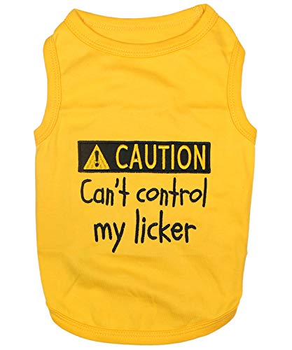 Parisian Pet Funny Cute Dog Cat Pet Shirts Caution Cant Control My Licker, I Work Out, Little Monster, WTF, BFF, Bling $, Got Treats, Babe Magnet, Little Miss Attitude (Licker, M)