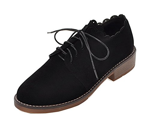 Price comparison product image AmoonyFashion Women's Nubuck Leather Low-Heels Lace-up Court Shoes,  Black,  34