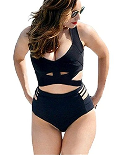 GWELL Women's 2PCS Plus Size High Waist Push Up Padded Strappy Swimsuits Bikini, US 8-10 (Tag XXL), Black