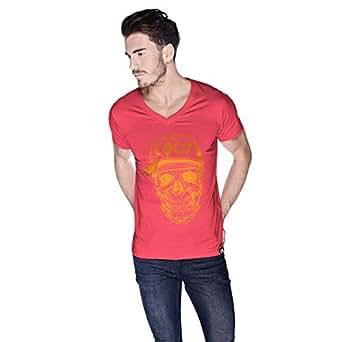 Creo Orange Coco Skull T-Shirt For Men - S, Pink