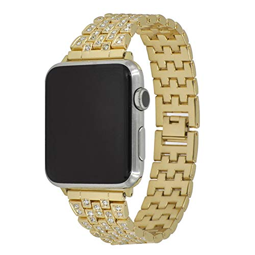 Diamonds Rose Alligator Watch - 42mm Women Luxury Jewelry Band Metal Crystal Rhinestone Diamond Watch Strap with Adjustable Metal Clasp Compatible with Apple Watch Series 3/2/1 Gold