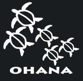 Hawaiian Turtle Decals - NI458 Ohana Hawaiian Sea Turtle Family With 3 Babies Decal Sticker | 6-Inches Wide By 5.8-Inches Tall | Premium White Vinyl Decal