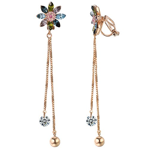 Yoursfs Sapphire Clip Earrings Circular Halo Navy Crystal 18k Rose GP Jewelry for Women (Flower Clip -