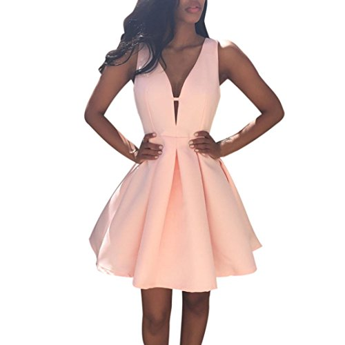 Hot Sale ! New Fashion Women Summer V Neck Solid Color Dress, Ninasill Beautiful Sleeveless Cocktail Party Dress (S, Pink)