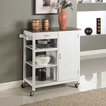 InRoom Designs Kitchen Cart With Faux Marble Top; White