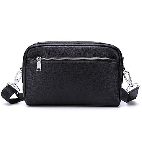 Gtuko Leather Business Shoulder Black Messenger Cowhide Handbags Real Bag Bags Crossbody Small Male Men Genuine 8127 75qRwnxFr7