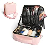 Bvser Travel Makeup Case, PU Leather Portable Organizer Makeup Train Case Makeup Bag Cosmetic Case with Shoulder Strap and Adjustable Dividers for Cosmetics Makeup Brushes Women (Pink)