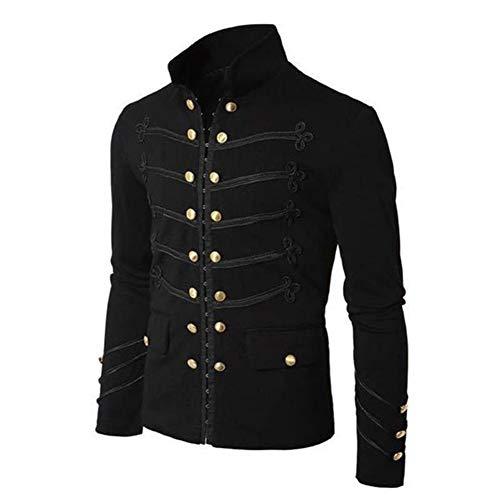 Edtara Jacket de Hombres Chaqueta Militar Vintage con Botones Bordados Color sólido Top Retro Cardigan Uniforme