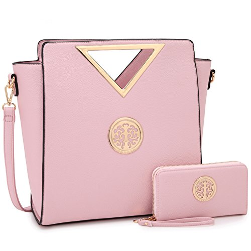 Dasein Women Designer Handbag Cut Out Triangle Top Handle Bag Large Tote Bag Fashion Work Purse (7464 Pink)