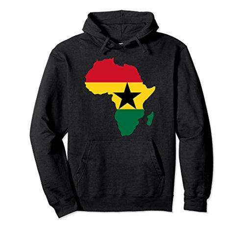 Unisex Ghanaian pride I love Ghana flag Africa map t-shirt hoodie Small Black (Map T-shirt Africa)