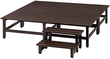 [スポンサー プロダクト]木目調アルミデッキ縁台&ステップ お得なセット 1.0坪セット G67011(サイズはありません ア:アイボリー)