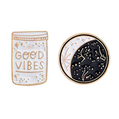 Kofun Brooch Pins, 2 Pieces Good Vibes Only Motivational Cute Enamel Lapel Pins Jacket Shirts Bag Decor