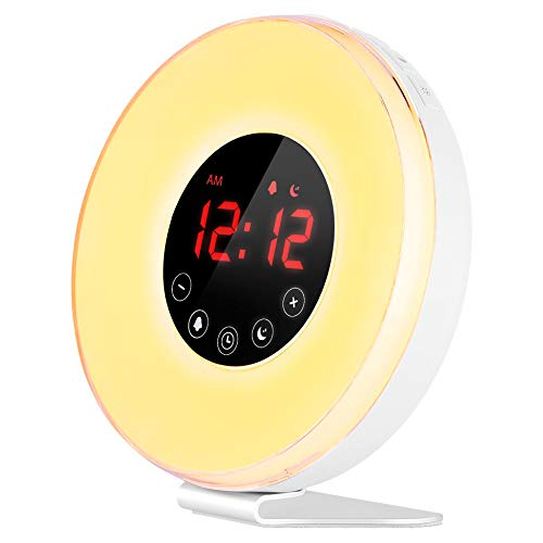 Wake Up Light, Alarm Clock- LBell [2019 Upgraded] Digital Alarm Clock with Sunrise Simulation, 7 Colors Night Light, 6 Nature Sounds, FM Radio (6639)