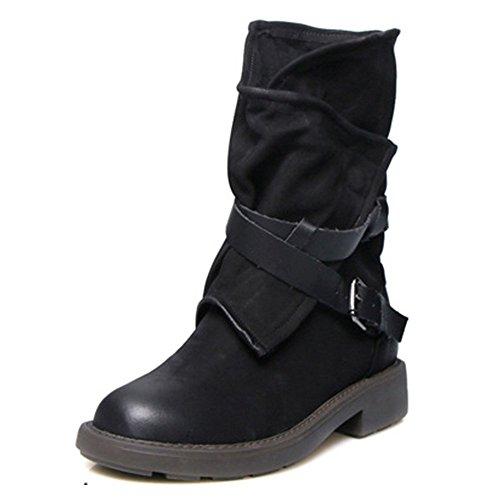 Xiakolaka Women Mid-Calf Boots Fashion Buckle Riding Boot Black
