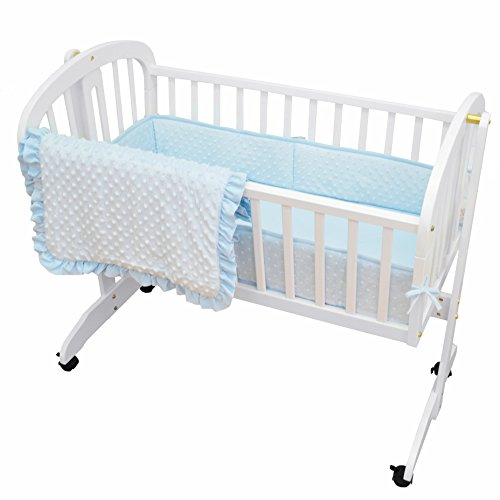 American Baby Company Heavenly Soft Minky Dot 3-Piece Cradle Bedding Set, Blue Soft Cradle Bedding
