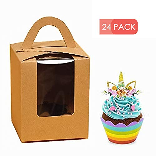 er - 24 pack Cupcake Boxes with Window, Gift Box for cupcake to go for Wedding Decoration, Party Favor, brown ()