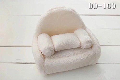 Dvotinst Newborn Photography Props, Soft Posing Mini Sofa Chair for Baby Photo Shooting, Studio Accessories 38x24x25 (White)