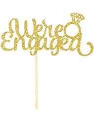 We're Engaged Cake Topper with Diamond Ring-Gold Glitter Wedding Bachelorette Party Decoration Supplies