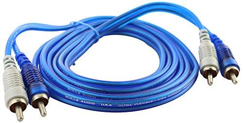 Bullz Audio (B15BR) Blue 15' Transparent RCA (Blue Transparent Cables)