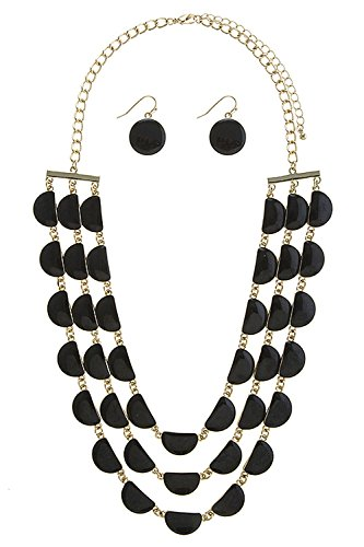 TRENDY FASHION JEWELRY LAYERED CRESCENT NECKLACE SET BY FASHION DESTINATION | (Black)