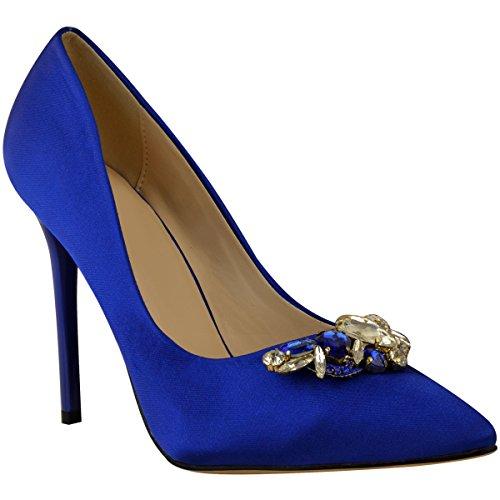 Mode Dorstige Vrouwen Bruiloft Bruids Diamante Hoge Hakken Pompen Partij Bruidsmeisje Maat Kobaltblauw Satijn
