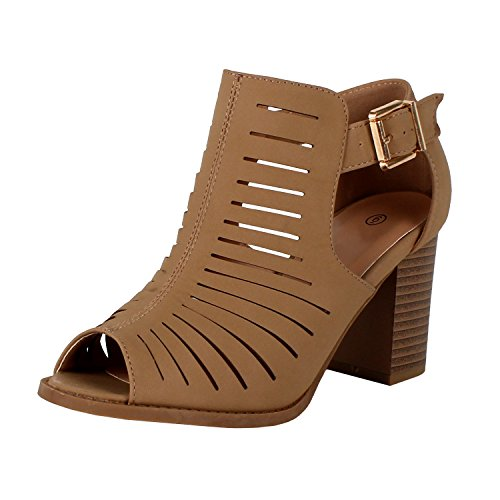 Womens Strappy Cut Out Gladiator Open Toe Platform Chunky Heel Sandal Bootie Sandals, Tan Pu, 8