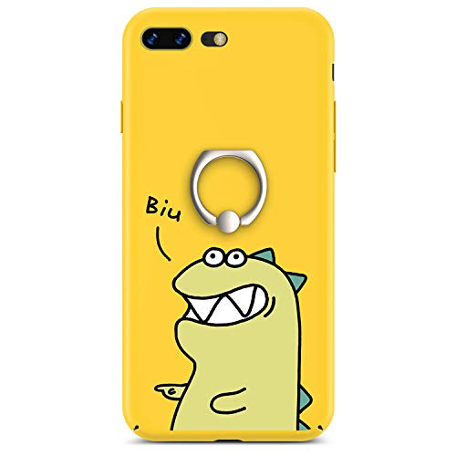 iPhone 7 Plus Case, GVIEWIN iPhone 8 Plus Case for Women, Slim Fit Hard Shell with Ring Stand Full Protective Anti-Scratch Resistant Cover Case for Apple iPhone 7 Plus/iPhone 8 Plus -Yellow Dinosaur