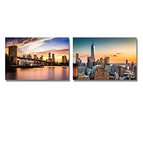 Lower Manhattan Skyline and Brooklyn Bridge at Sunset Wall Decor ation x 2 Panels