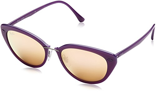 Ray-Ban-INJECTED-WOMAN-SUNGLASS-SHINY-VIOLET-Frame-BROWN-MIRROR-PINK-Lenses-52mm-Non-Polarized