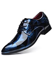 Men Dress Shoes Fashion Business Shoes Pointed Toe Floral Patent Leather Lace Up Oxford