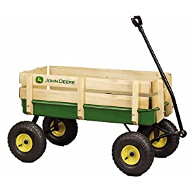 """John Deere - 36"""" Steel Wagon With Wooden Stake Sides"""