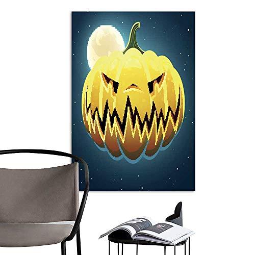 UHOO Linen Art Prints PicturesVector Scary Halloween Pumpkin3.jpg Wall Art for Bedroom Living Room 16