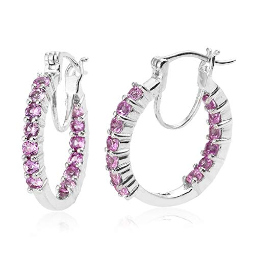 - Round Platinum Created Pink Sapphire Inside Out Hoops, Hoop Earrings for Women Cttw 1.8