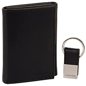 Calvin Klein Men's Men Matte Leather Smooth Trifold w/ Key Fob Billfold Wallet