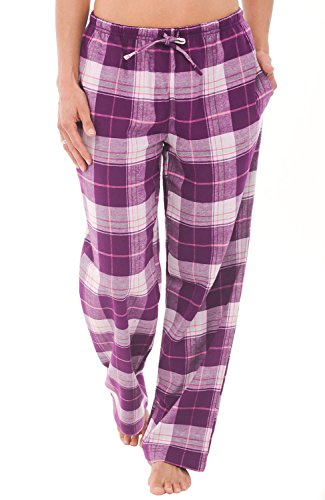 Alexander Del Rossa Womens Flannel Pajama Pants, Long Cotton Pj Bottoms, Large Purple Plaid (A0703P65LG)